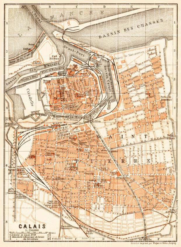 Calais city map, 1910. Use the zooming tool to explore in higher level of detail. Obtain as a quality print or high resolution image