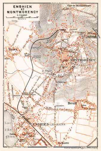 Enghien-les-Bains and Montmorency map, 1910