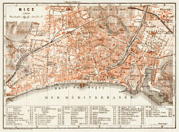 Old Map Of Nice In 1913 Buy Vintage Map Replica Poster Print Or