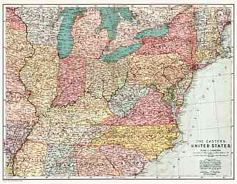 Map of the eastern United States, 1909