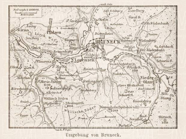 Map of the environs of Bruneck, 1903. Use the zooming tool to explore in higher level of detail. Obtain as a quality print or high resolution image