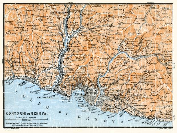 Genoa (Genova) environs map, 1908. Use the zooming tool to explore in higher level of detail. Obtain as a quality print or high resolution image