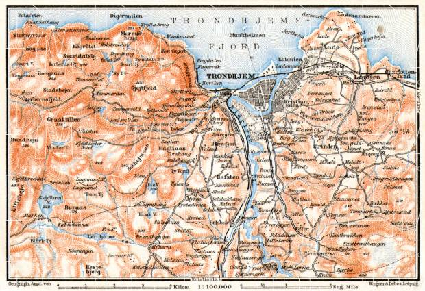 Trondheim (Trondhjem) environs map, 1910. Use the zooming tool to explore in higher level of detail. Obtain as a quality print or high resolution image