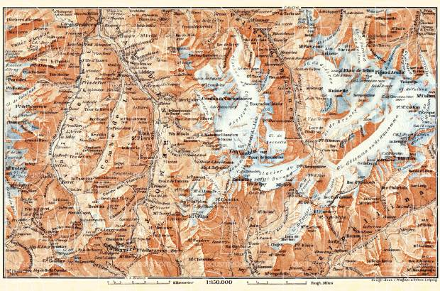 Great St. Bernhard environs map, 1897. Use the zooming tool to explore in higher level of detail. Obtain as a quality print or high resolution image