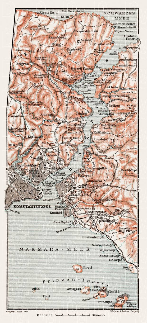 Constantionople (قسطنطينيه, İstanbul) and the Bosphorus map, 1914. Use the zooming tool to explore in higher level of detail. Obtain as a quality print or high resolution image