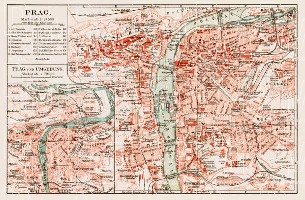 Prague (Prag, Praha) city map, 1903. Use the zooming tool to explore in higher level of detail. Obtain as a quality print or high resolution image