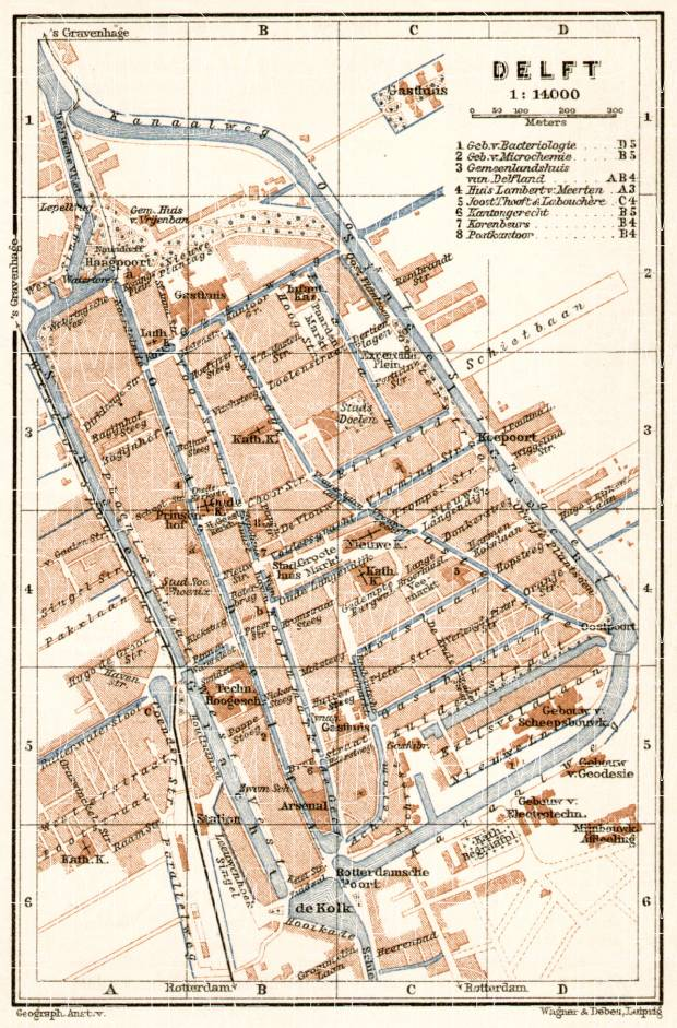 Old map of Delft in 1909 Buy vintage map replica poster print or