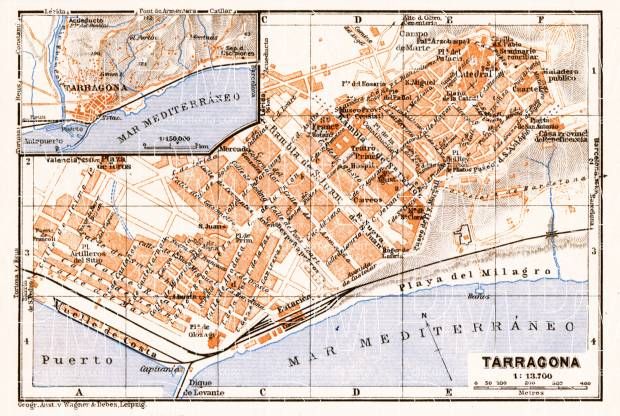 Old map of Tarragona and vicinity of Tarragona map in 1929. Buy ...