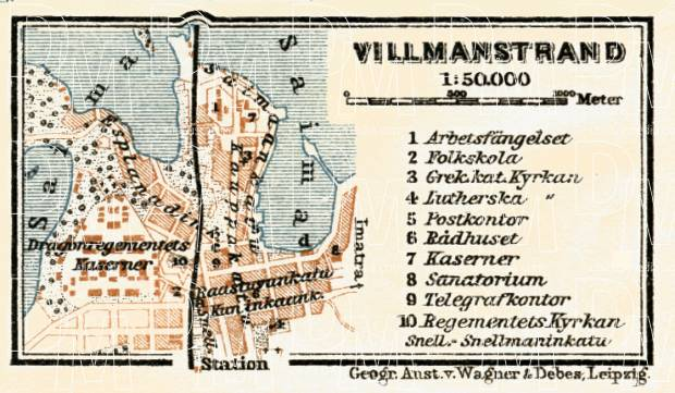 Willmanstrand (Вильманстрандъ, now Lappeenranta) town plan, 1914. Use the zooming tool to explore in higher level of detail. Obtain as a quality print or high resolution image