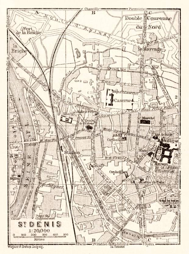 Saint-Denis map, 1910. Use the zooming tool to explore in higher level of detail. Obtain as a quality print or high resolution image