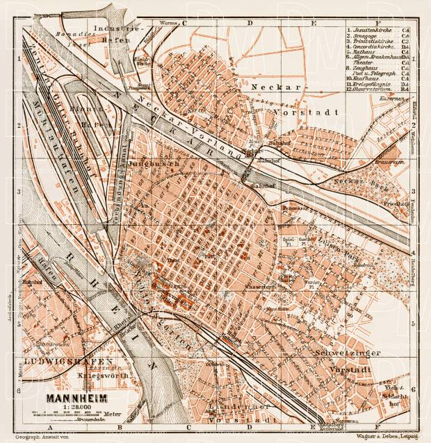 Old Map Of Mannheim In Buy Vintage Map Replica Poster Print - Germany map mannheim