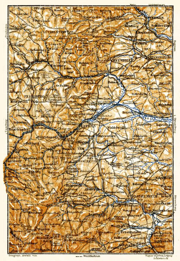 Northern Vosges Mountains map, 1905. Use the zooming tool to explore in higher level of detail. Obtain as a quality print or high resolution image
