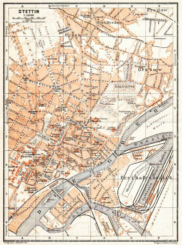 Old map of Stettin Szczecin in 1906 Buy vintage map replica