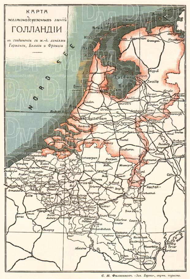 Railway map of the Netherlands (Legend in Russian), 1900. Use the zooming tool to explore in higher level of detail. Obtain as a quality print or high resolution image