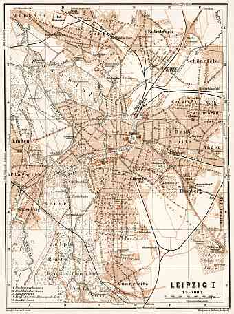 Leipzig city map, 1911