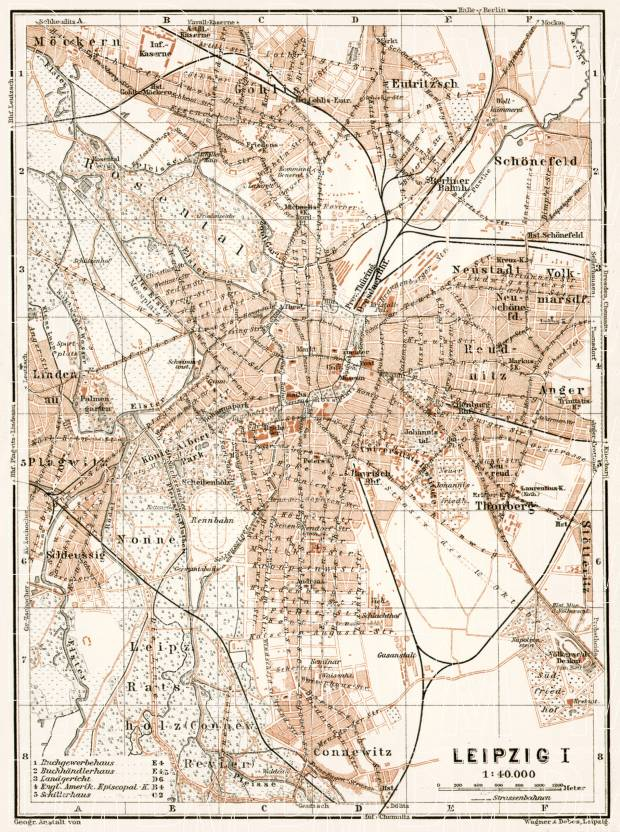 Leipzig city map, 1911. Use the zooming tool to explore in higher level of detail. Obtain as a quality print or high resolution image