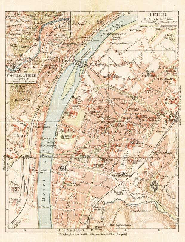 Old map of Trier and environs in 1927 Buy vintage map replica