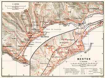 Menton town plan with map of the environs of Menton, 1910