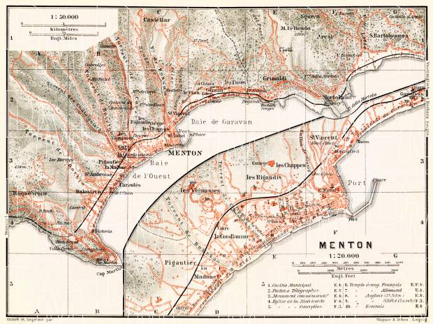 Menton town plan with map of the environs of Menton, 1910. Use the zooming tool to explore in higher level of detail. Obtain as a quality print or high resolution image