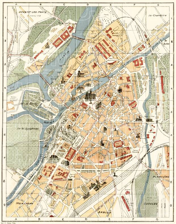 Metz town plan, 1916. Use the zooming tool to explore in higher level of detail. Obtain as a quality print or high resolution image