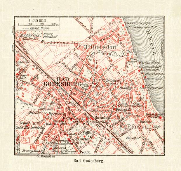 Old map of Bad Godesberg now part of city of Bonn in 1927 Buy
