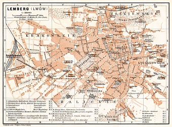Lemberg (Львiв, L´viv) city map, 1913
