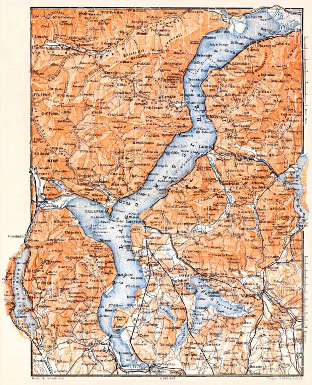 Lake Majeur nearer environs map, 1898. Use the zooming tool to explore in higher level of detail. Obtain as a quality print or high resolution image