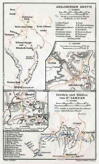 Adelsberg (Postojna, Postumia) Royal Grottoes. Divača and the Škocjan Caves area map, 1910