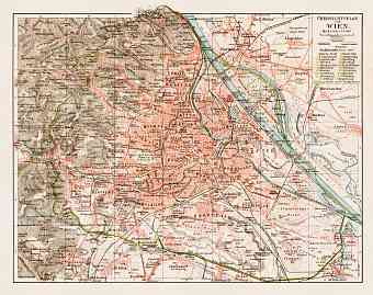 Vienna (Wien) and suburbs, overview map, 1903