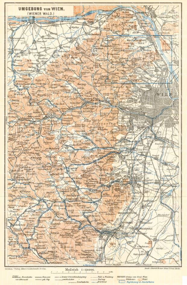 Vienna (Wien) environs map, 1929. Use the zooming tool to explore in higher level of detail. Obtain as a quality print or high resolution image