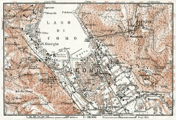 Como Lake and its environs map, 1909. Use the zooming tool to explore in higher level of detail. Obtain as a quality print or high resolution image