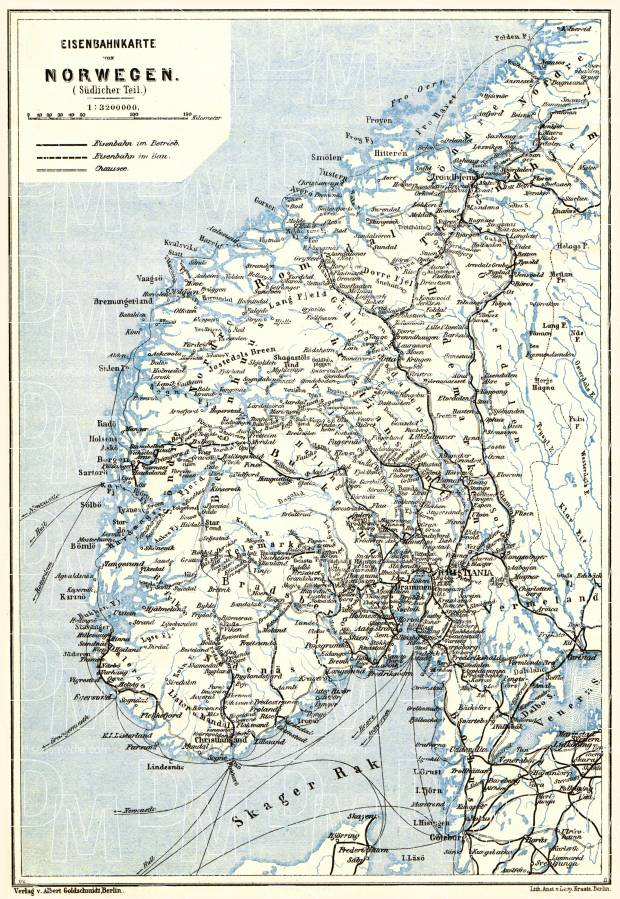 Norway, southern part. Railway network map, 1913. Use the zooming tool to explore in higher level of detail. Obtain as a quality print or high resolution image