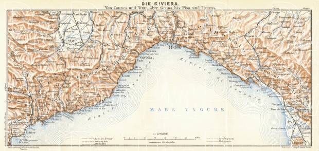 Map Of France French Riviera.French Riviera And Italian Riviera Map 1929