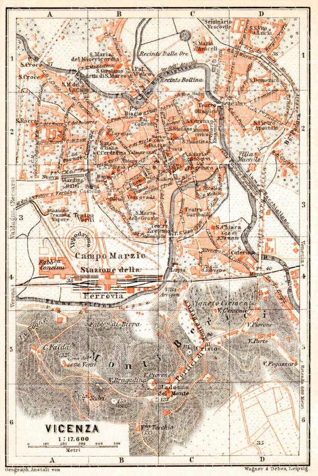 Vicenza city map, 1908. Use the zooming tool to explore in higher level of detail. Obtain as a quality print or high resolution image
