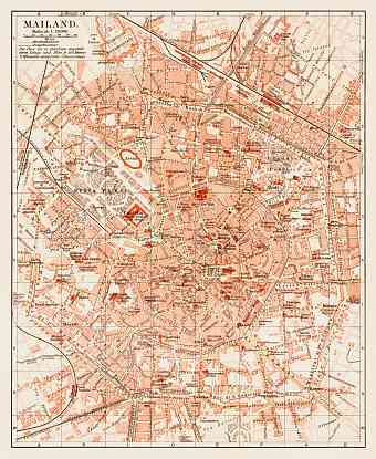 Milan (Milano) city map, 1903