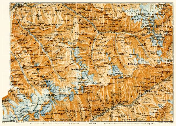 Eastern Zillertal Alps (Zillertaler Alpen) map, 1906. Use the zooming tool to explore in higher level of detail. Obtain as a quality print or high resolution image