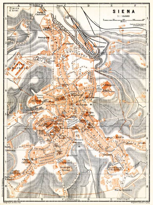 Siena city map, 1898. Use the zooming tool to explore in higher level of detail. Obtain as a quality print or high resolution image