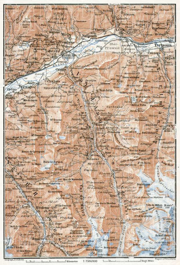 Sierre and Val d´Anniviers map, 1909. Use the zooming tool to explore in higher level of detail. Obtain as a quality print or high resolution image