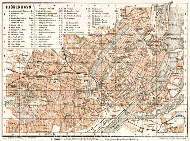Copenhagen (Kjöbenhavn, København) city map, 1911. Use the zooming tool to explore in higher level of detail. Obtain as a quality print or high resolution image