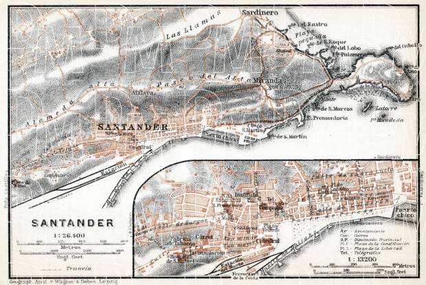 Santander city map, 1913. Use the zooming tool to explore in higher level of detail. Obtain as a quality print or high resolution image