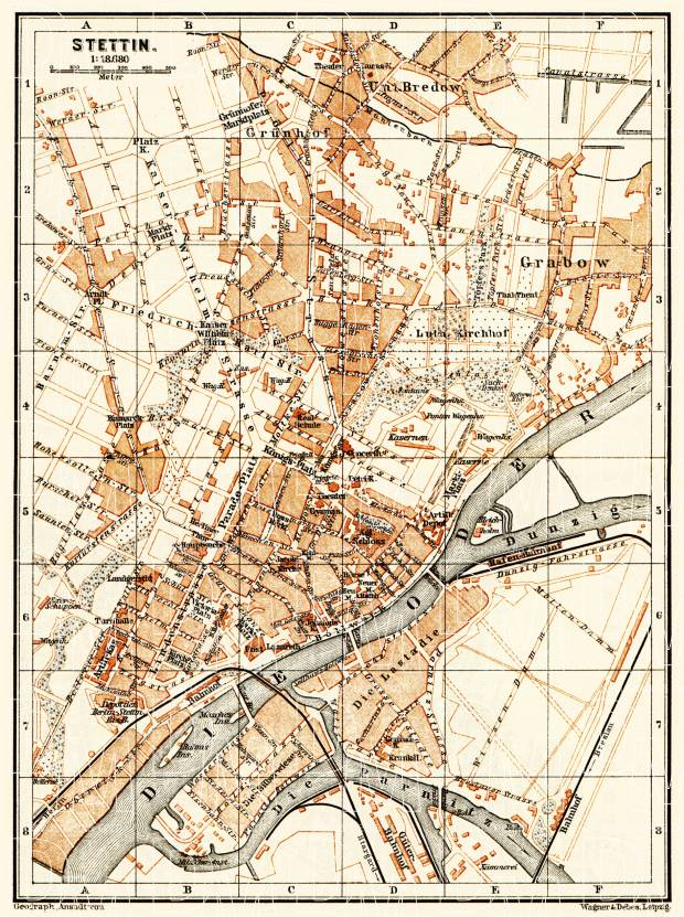 Old map of Stettin Szczecin in 1887 Buy vintage map replica