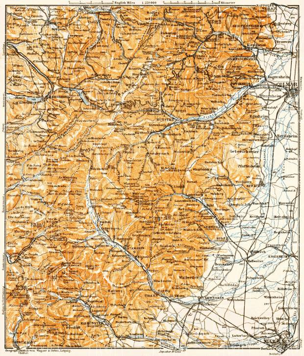 South Vosges. Mühlhausen (Mulhouse) - Colmar map, 1905. Use the zooming tool to explore in higher level of detail. Obtain as a quality print or high resolution image
