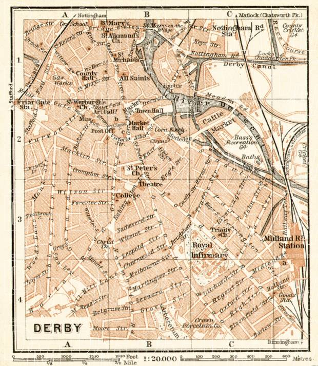 Old map of Derby in 1906. Buy vintage map replica poster print or ...