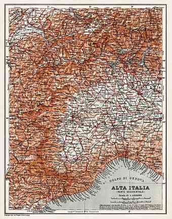 Alta Italia - North Italy map, 1908. Western part