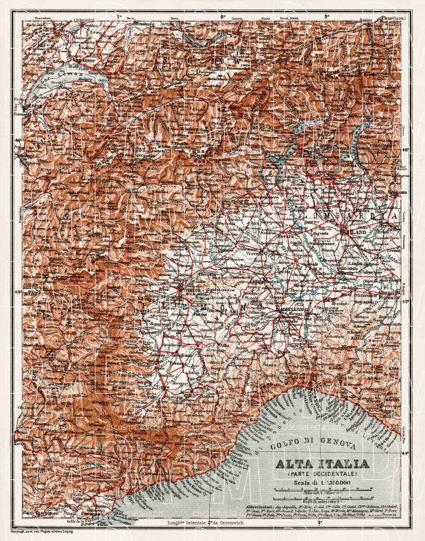 Alta Italia - North Italy map, 1908. Western part. Use the zooming tool to explore in higher level of detail. Obtain as a quality print or high resolution image