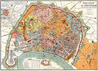 Antwerp (Antwerpen, Anvers) city map, 1898