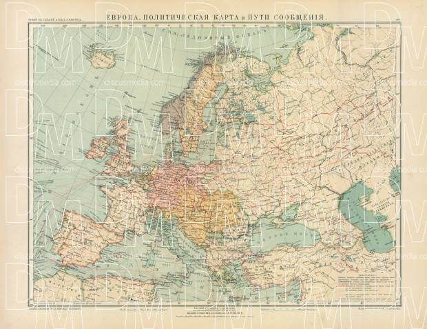 High Resolution Map Of Europe.Old Map Of Europe Political And Transportation In 1910 Buy