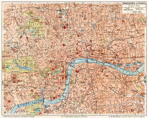 London city map, 1903 (legend in Russian). Use the zooming tool to explore in higher level of detail. Obtain as a quality print or high resolution image
