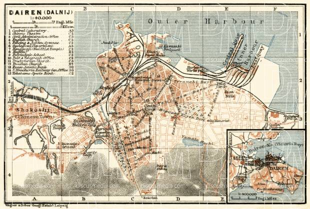 Old map of Dairen Dalian in 1914 Buy vintage map replica poster