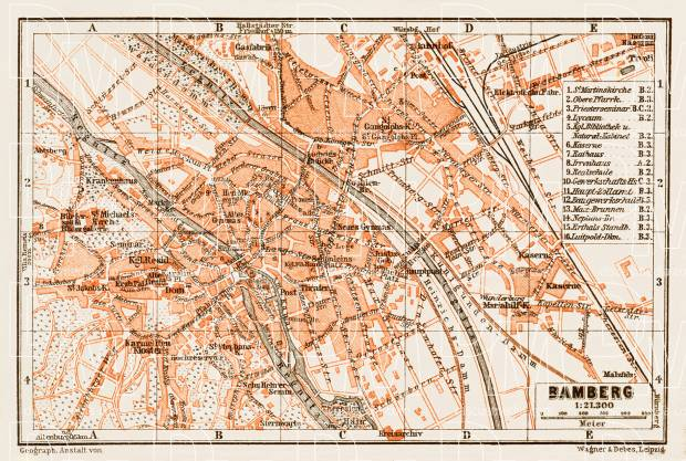 Bamberg city map, 1909. Use the zooming tool to explore in higher level of detail. Obtain as a quality print or high resolution image